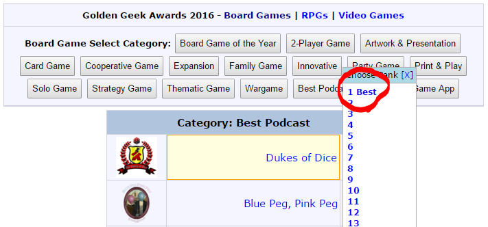 2017 BGG Golden Geek Awards! - The Dukes of Dice